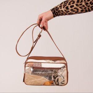 Vintage Metallic Snakeskin Patchwork Bag